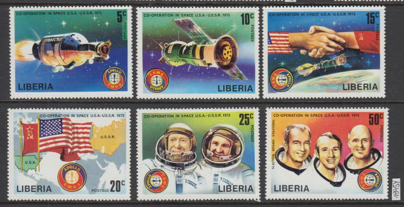 XG-W890 LIBERIA - Space, 1975 Usa Ussr Co-Operation MNH Set
