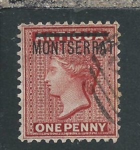 MONTSERRAT 1883 1d RED FU SG 6 CAT £70