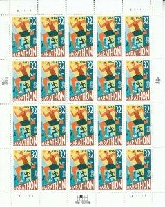 Stamp US Sc 3067 Sheet 1996 Marathon Running Sports Athleticism Health MNH