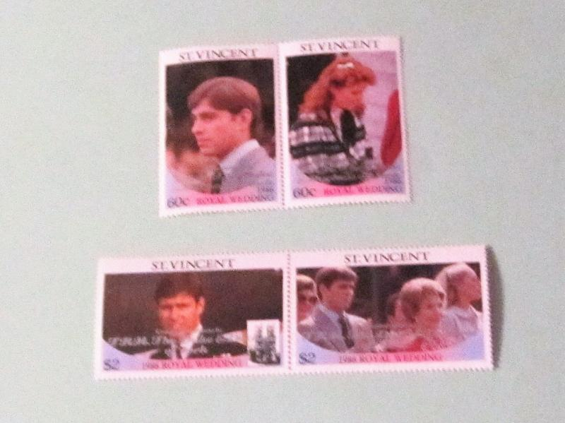 St. Vincent - 976-77, MNH Set (Pairs), Overprint. Wedding Congrats. SCV - $3.50