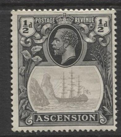ASCENSION- Scott 10 - Seal of Colony -1924 - MH - Single 1/2d Stamp