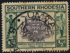 SOUTHERN RHODESIA - 1943 - SG53 CANCELLED UMTALI DOUBLE CIRCLE D.S.