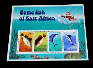 KENYA #71a, 1977, GAME FISH OF EAST AFRICA, SOUVENIR SHEET, MNH, NICE! LQQK