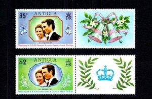 ANTIGUA - 1973 - ROYAL WEDDING - ANNE + MARK - 2 X MNH SET + LABELS!