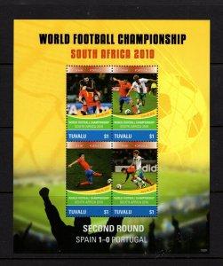 Tuvalu  #1146 (2010 Spain in World Cup Soccer sheet) VFMH CV $7.50