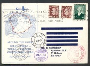 NORWAY 1953 Round Trip Flight card OSLO-THULE-TOKYO-OSLO, all proper markings