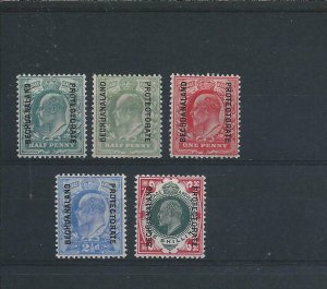BECHUANALAND 1904-13 SET OF FIVE (ONLY ONE SHILLING VALUE) MM SG 66/70 CAT £85