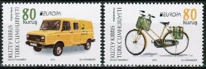 2013 TURKISH CYPRUS - EUROPA - POSTAL VEHICLES FROM BIG SHEET (40) - UMM