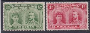 RHODESIA 1910 KGV DOUBLE HEAD 1/2D AND 1D