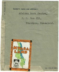 Nyasaland 1951 Blantyre cancel on air letter sheet to the U.S., label reverse