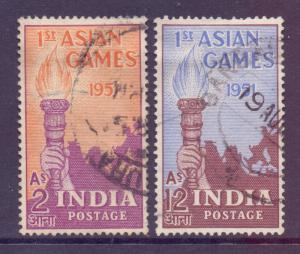 India Scott 233/234 - SG335/336, 1951 Asian Games Set used