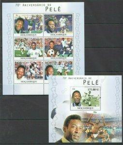 BC1144 2010 MOZAMBIQUE SPORT FOOTBALL LEGENDS PELE BL+KB MNH