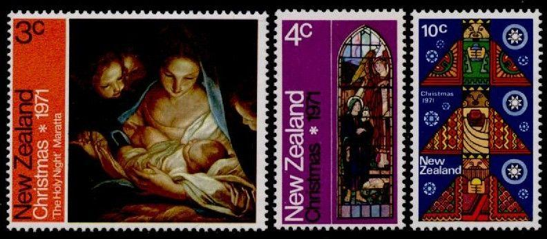 New Zealand 481-3 MNH Christmas, Art, Stained Glass
