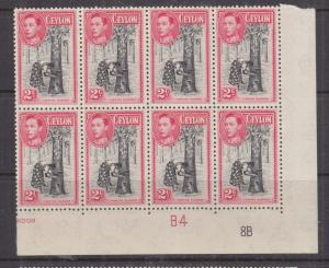 CEYLON, 1949 KGVI, perf. 12, 2c. Tapping Rubber, Pl. # block of 8, mnh.