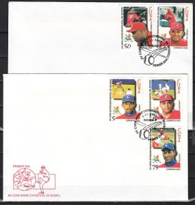 Cuba, Scott cat. 4256-4260. Int`l Baseball Cup issue. First day covers. ^