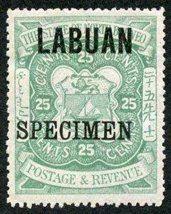 Labuan SG80s 25c Green M/M (hinge remainders) opt SPECIMEN