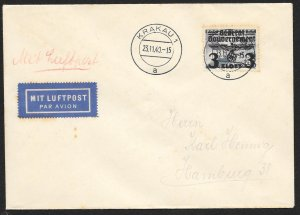 POLAND Sc#N47 Cover canceled 1940 Krakau to Hamburg