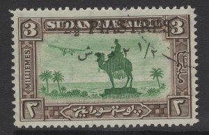 SUDAN SG69 1935 2½p on 3m GREEN & SEPIA FINE USED