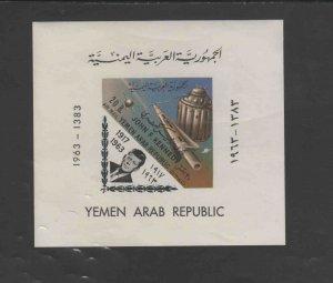 YEMEN  1963  JFK    MINT VF NH O.G IMP. S/S (YE37)