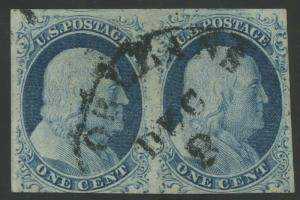 #9 1c 1851 VF USED PAIR CV $180 BU7269