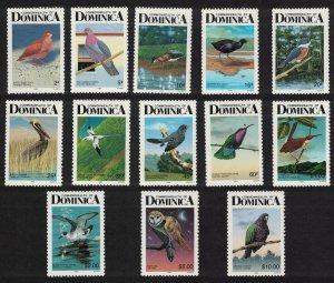 Dominica Birds 13v imprint '1989' perf 12?*11? COMPLETE SG#1241b-1254b MI#1004