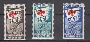J27600 1951 italy-trieste set mh #115-7 sports ovpt,s
