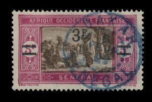 SÉNÉGAL - 1929 - CAD DOUBLE CERCLE DAKAR / SÉNÉGAL EN BLEU SUR N°99