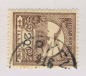 HUNGARY - 1916 TURKEVE CDS ON 20fi BROWN Wmk.7X P.15 MiNr.117X