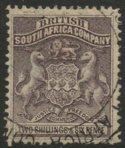 RHODESIA-1892-93 2/6 Grey-Purple Sg 6 FINE USED V37848