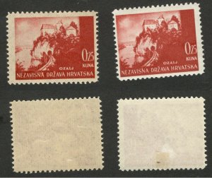 CROATIA - NDH - 2 MNH/MH STAMPS, 0.25 kuna - DIFERENT COLOR PAPER - 1941/42/43.