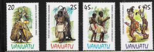 Vanuatu #384-387 Ceremonial Dance Costumes (MNH) CV $2.90