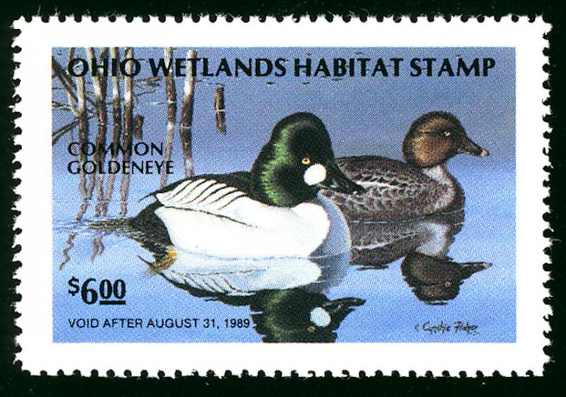 #STATE DUCK Ohio 7 VF/XF mint hinged, JUMBO STAMP, face value is $6. a super ...