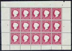 GAMBIA 1886 QV CAMEO 1D FULL SHEET STAMPS MNH ** WMK CROWN CA