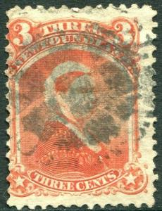 NEWFOUNDLAND-1870 3c Vermilion Sg 36 AVERAGE USED V30311