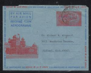 INDIA (PP0308B) 1974 ILLUSTRATED  INDEPENDENCE AEROGRAMME TO USA
