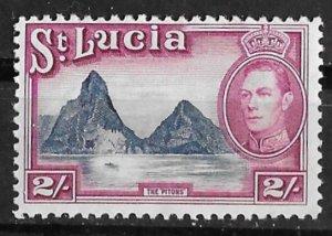 St. Lucia # 122  George VI  2sh Pitons  (1)  VLH Unused