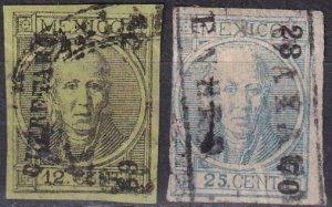 Mexico #59, 61  F-VF Used  CV $2.50  (Z6258)