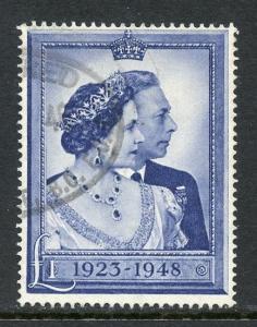 Great Britain Scott 268 Used 1 Pound George VI 25th Wedding Anniversary