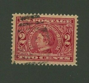 US 1909 2c carmine Alaska-Yukon-Pacific Expo., Scott 370 used, Value = $2.00