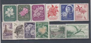 NORFOLK ISLAND (MM235) # 29-41 VF-MLH  VARp,sh 1960-62 VARIOUS DESIGNS CV $55