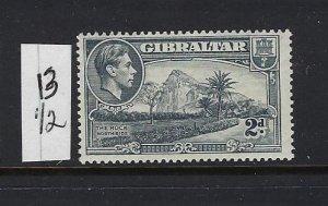 GIBRALTAR SCOTT #110A 1938-49 GEORGE VI- 2D (GRAY)-  PERF 13 1/2  - MINT NH