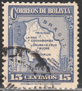 BOLIVIA 200, 15¢, MAP. USED. VF. (305)