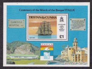 Tristan da Cunha # 520, Wreck of Ship Italia, Souvenir Sheet,  NH, 1/2 Cat.