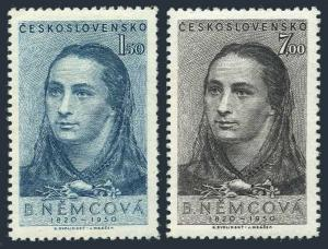 Czechoslovakia 416-417,MNH.Michel 620-621. Bozena Nemcova,writer,1950.
