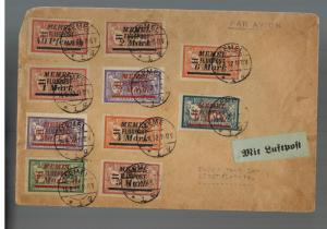 1922 Memel Airmail Cover Complete set stamps # C20-C29 to Libau Latvia