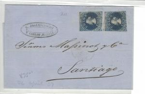 Chile 10c blue x 2 on 1857 internal cover  (15bep)