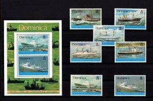 DOMINICA - 1975 - SHIPS - ROYAL MAIL - CANADIAN - CARGO ++ MNH SET + S/SHEET!