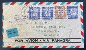 1935 La Paz Bolivia First Flight Airmail Cover FFC To New York Usa