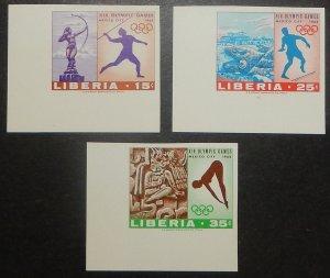 Liberia 483-85 var. 1968 Olympics, imperforate, NH