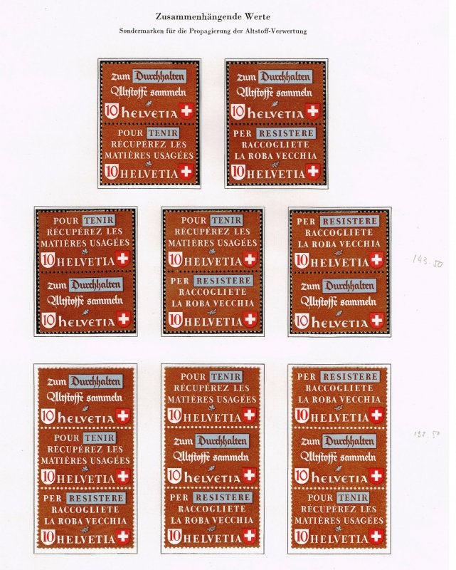 Switzerland Stamp 1942 Waste Material Se-Tenant STAMPS COLLECTOIN LOT $276